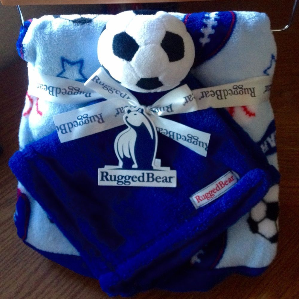 Rugged Bear New 30 X Fleece Soccer Themed Baby Blanket Gift Set 2 Pack Ruggedbear