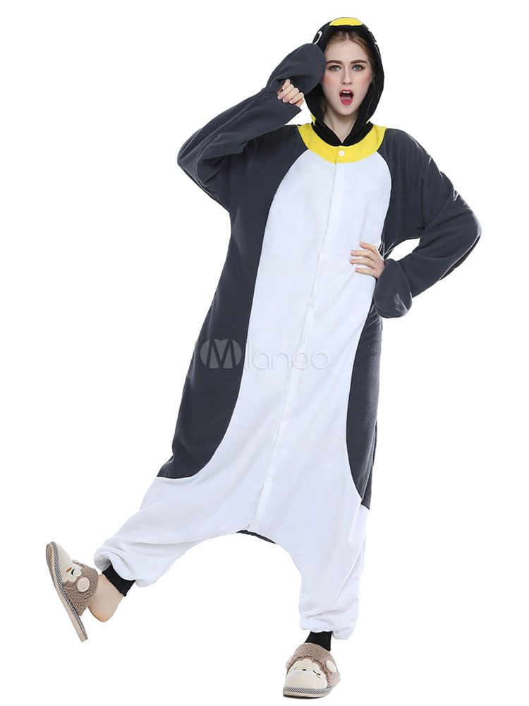 Kigurumi Pajamas Penguin Onesie For Adult Gray Unisex Synthetic