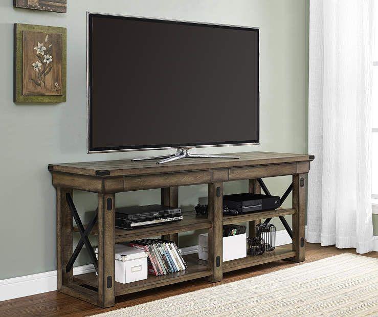 65 Rustic Gray Oak Tv Stand At Big Lots Rustic Tv Stand Tv Stand Wood Oak Tv Stand