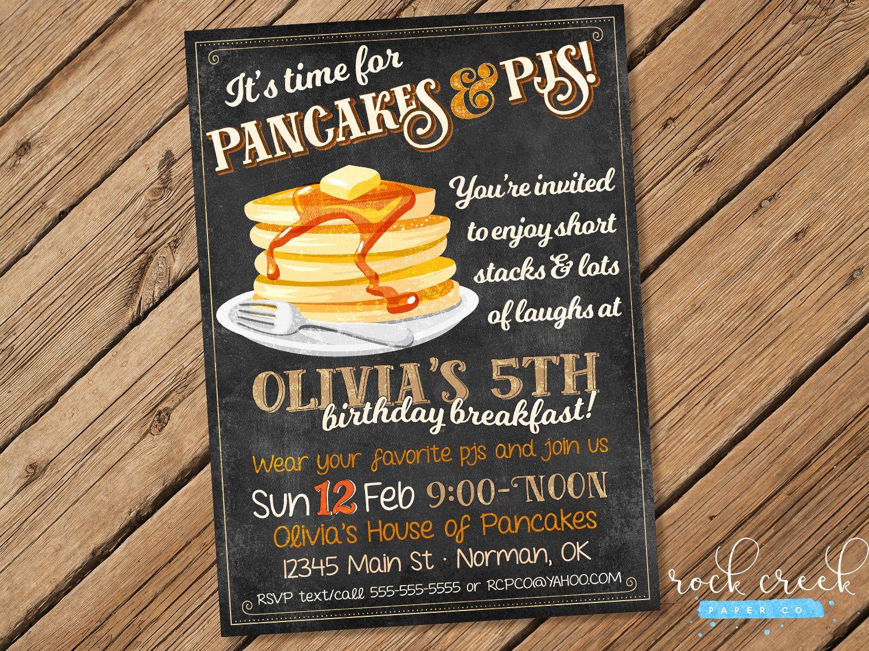 Pancakes & PJs Birthday Invitation, Pancakes and Pajamas Party ...