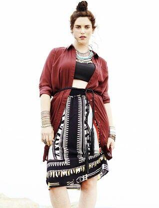 Eloquii tribal skirt, shirt dress and black top