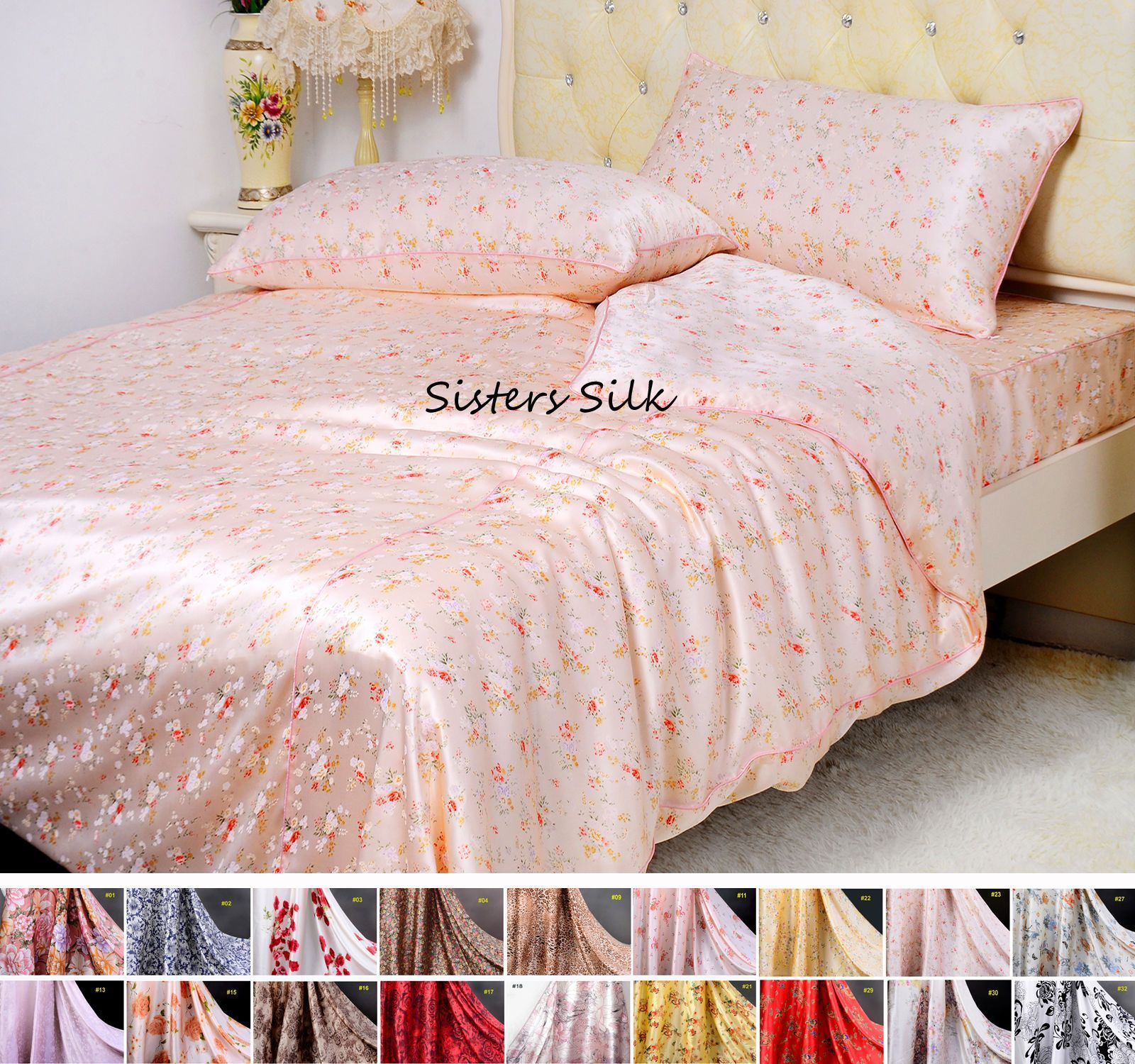5 Pcs 16Mm Printed Silk Duvet Cover Flat Sheet Fitted