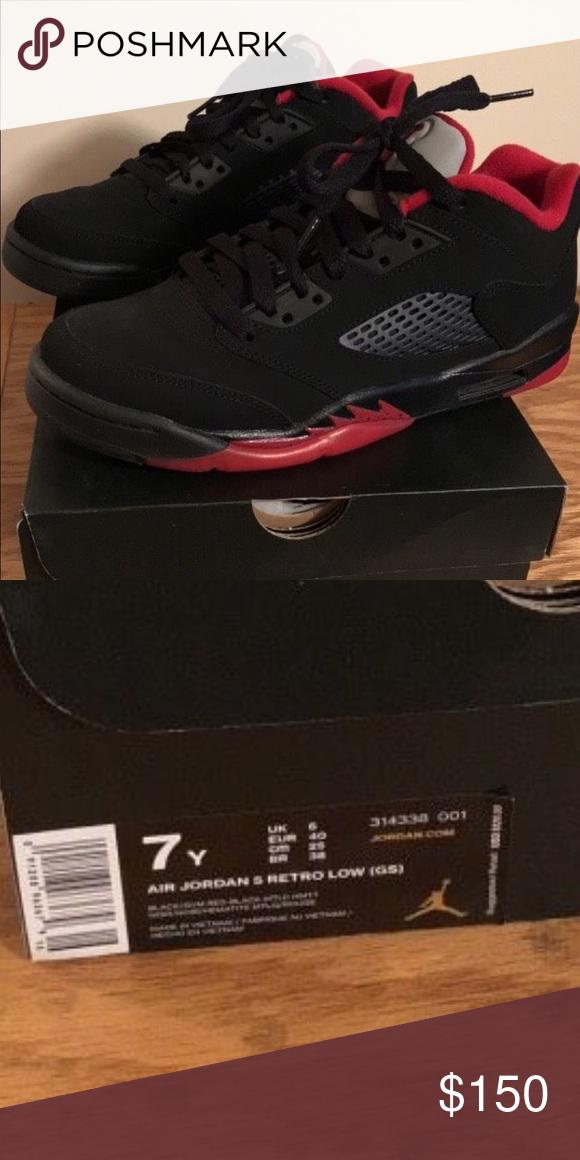 new product 46bb2 d4e59 Jordan Shoes | Air Jordans 5 Retro Low | Color: Black/Red ...