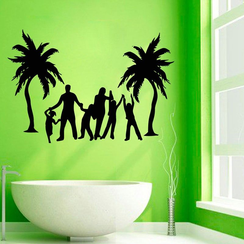 Palm Tree Wall Decor palm trees wall decals love family beach playing wall stickers