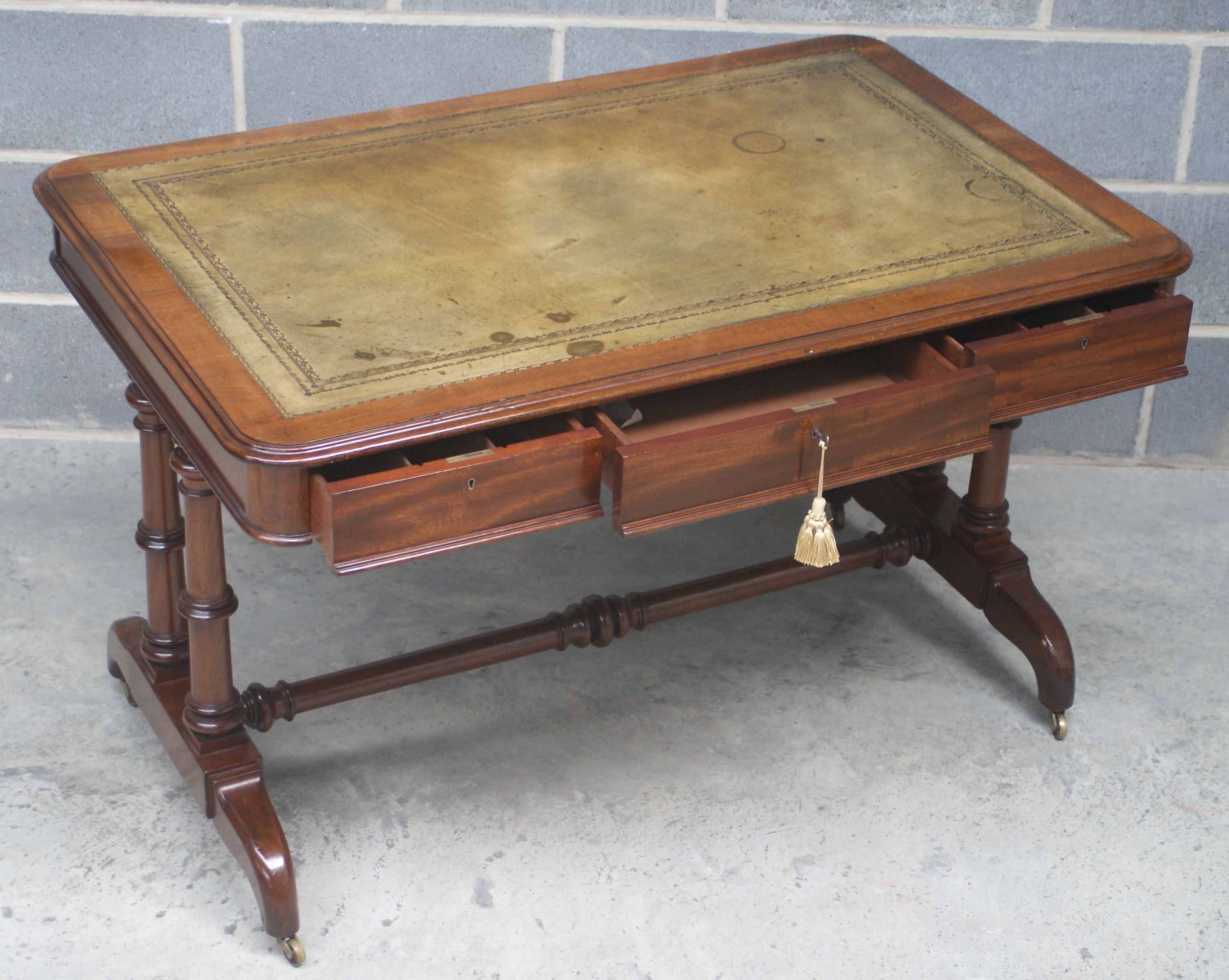 Black distressed dining table and six parlor chairs stamped 1928 - Six Drawer All Fitted Antique Library Table By Charles Hindley And Sons London