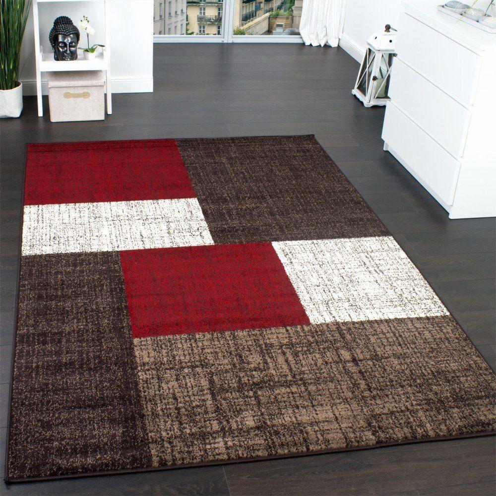 Designer Teppich Modern Kariert Kurzflor Teppich Design Meliert Braun Beige  Rot: Amazon.de: