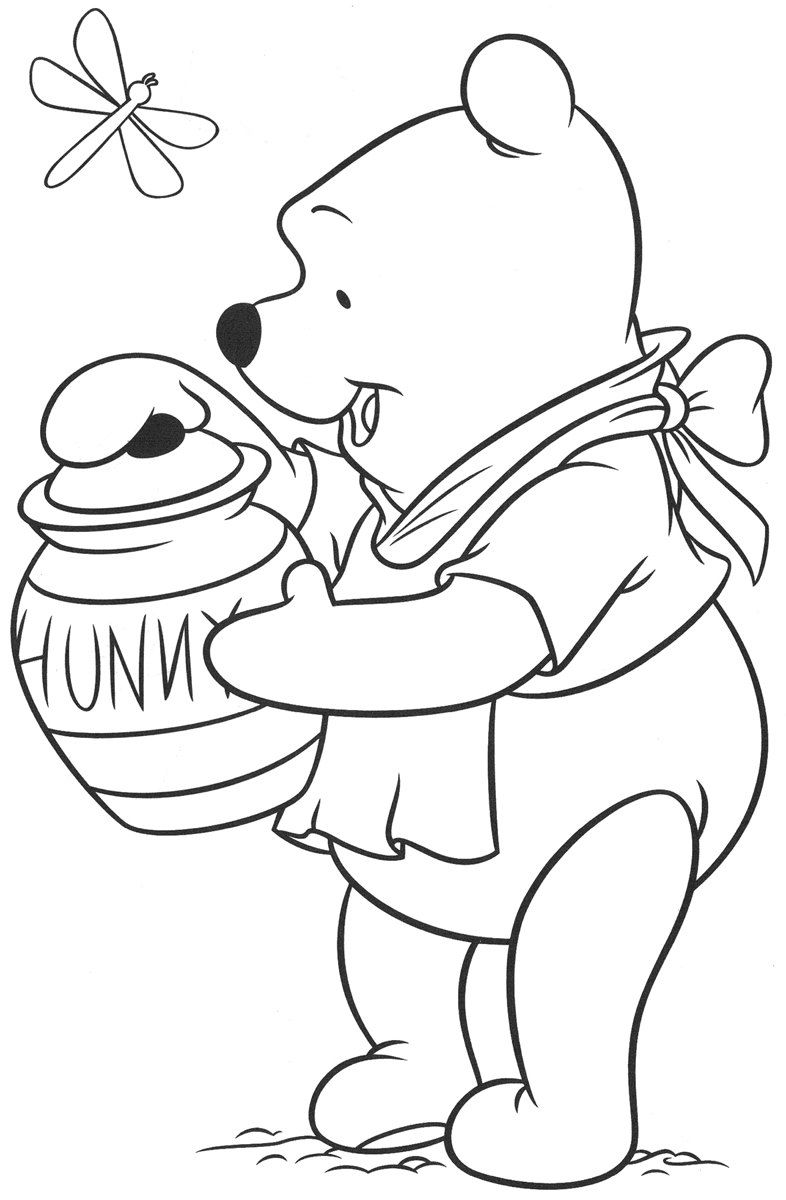 Winnie The Pooh Coloring Pages Honey Jar Free Coloring Pages