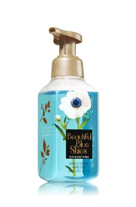Beautiful Blue Skies - Gentle Foaming Hand Soap - Bath & Body Works - Our Gentle Foaming Hand Soap is formulated with antioxidant-rich Vitamins A & E and skin-essential nutrient Vitamin B. The rich, creamy lather gently washes away dirt and germs, while conditioning Aloe leaves hands feeling soft, smooth, and lightly scented.