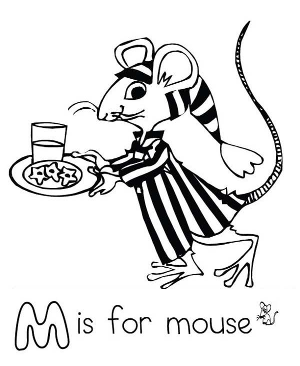 Letter M For Mouse In Pajamas Coloring Page  Download  Print