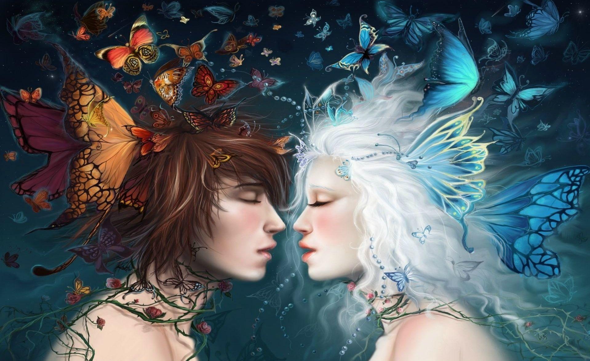 fantasy - love - butterfly love wallpaper | fantasy art four