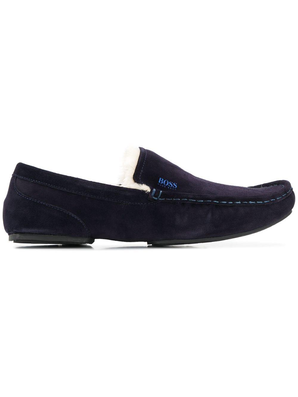 Hugo Boss Suede Loafers In Blue