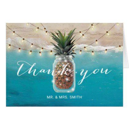 Pinele Mason Jar Beach Wedding Thank You Card