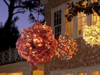 Lighted Christmas balls made with
