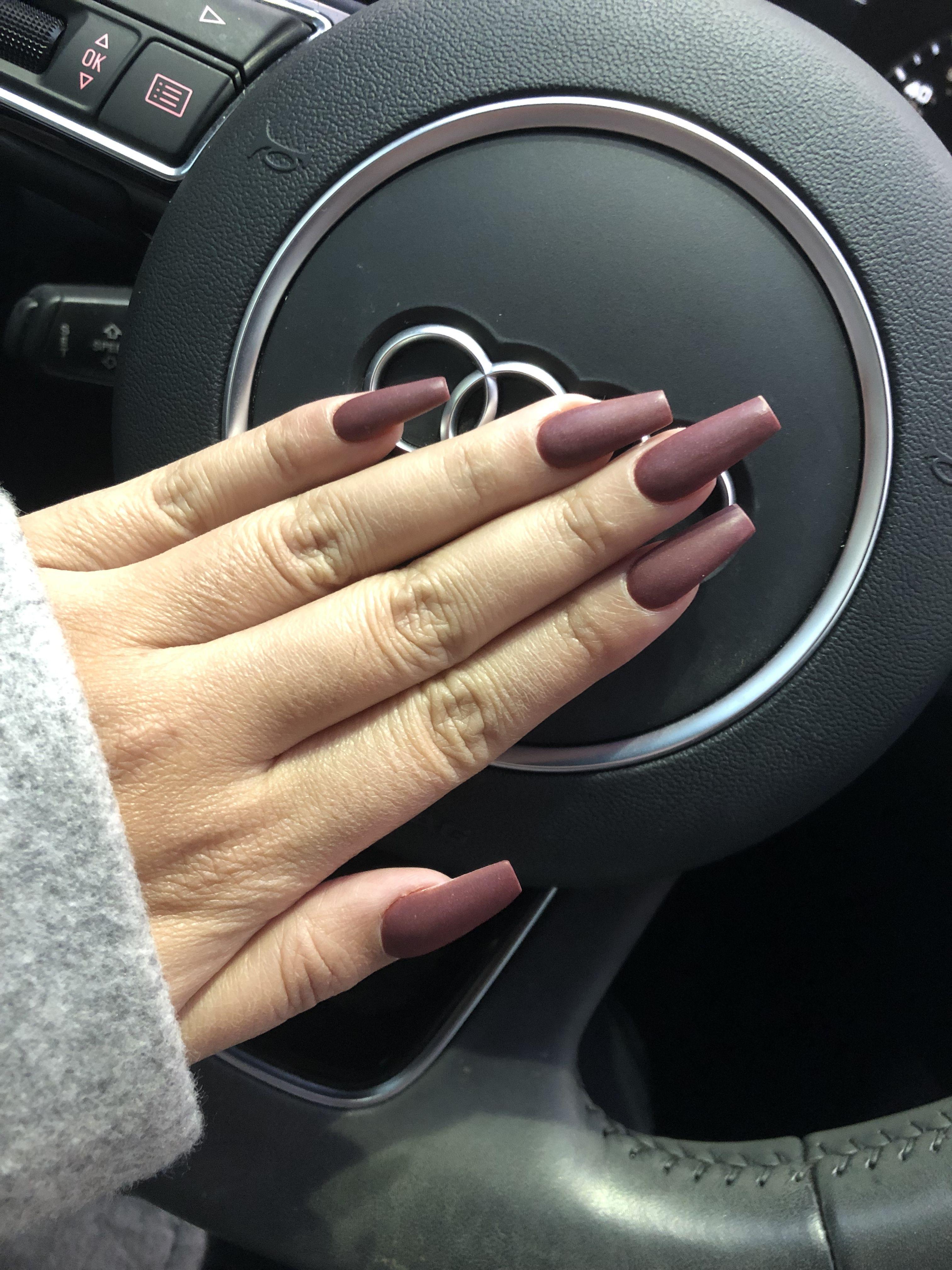 Matte plum coffin nails | Nail colors, Plum nails, Nails