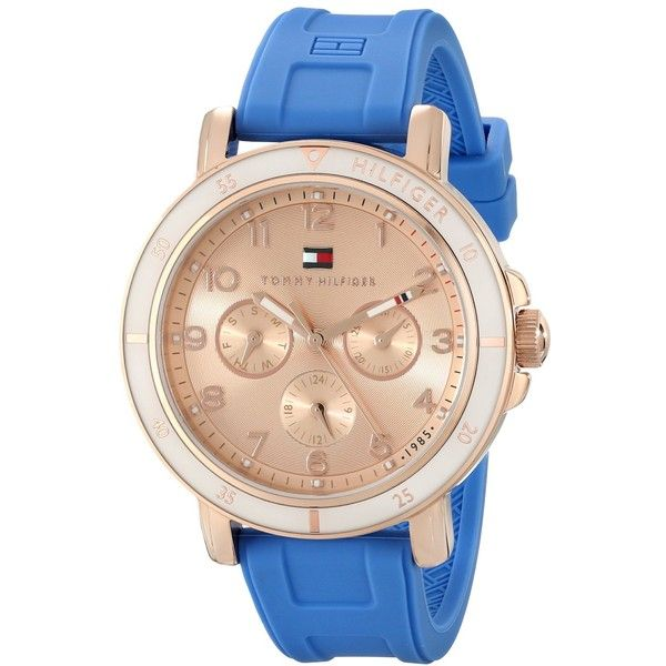 Tommy Hilfiger Women's 1781512 Gold-Tone Sport Watch with Blue... ($68) ❤ liked on Polyvore featuring jewelry, watches, dial watches, sport watch, quartz movement watches, blue dial watches and bezel watches