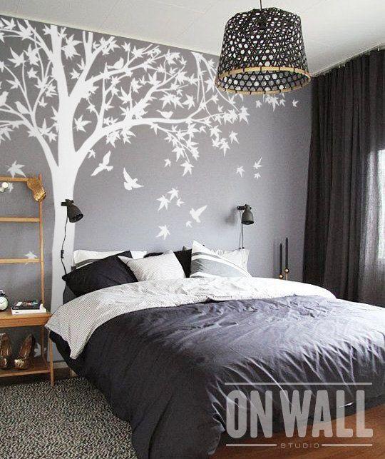 Tree wall decal huge tree wall decal wall mural by - Decoracion de paredes de dormitorios ...