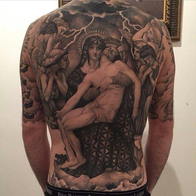 Full back religious mary and jesus tattoos for Jesus back tattoos