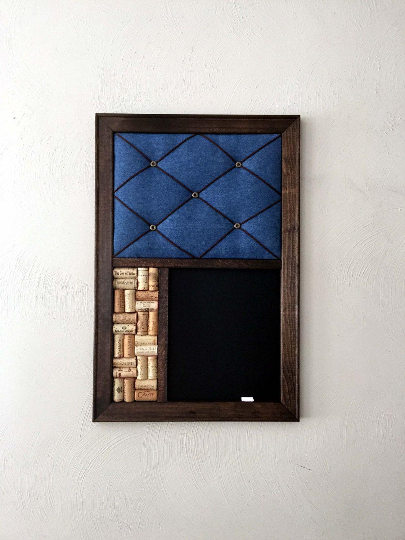 Rustic Chalkboard, Denim French Memo Board, Wine Cork Board Kitchen Wall  Organizer By KaiHinaCoastal On Etsy