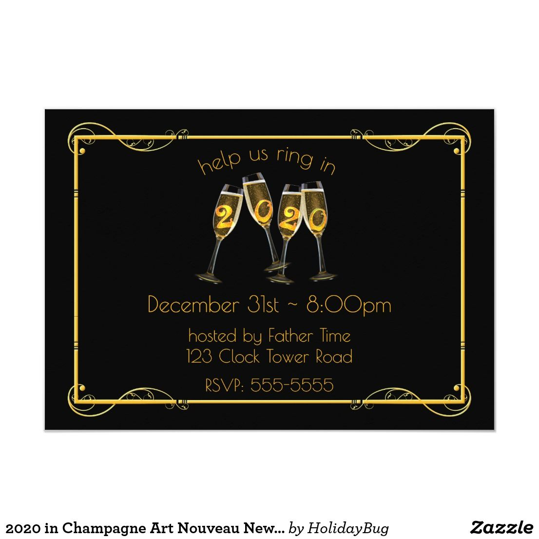 2020 in Champagne Art Nouveau New Year's Eve Invitation