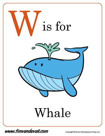 W is for Whale Letter W Preschool