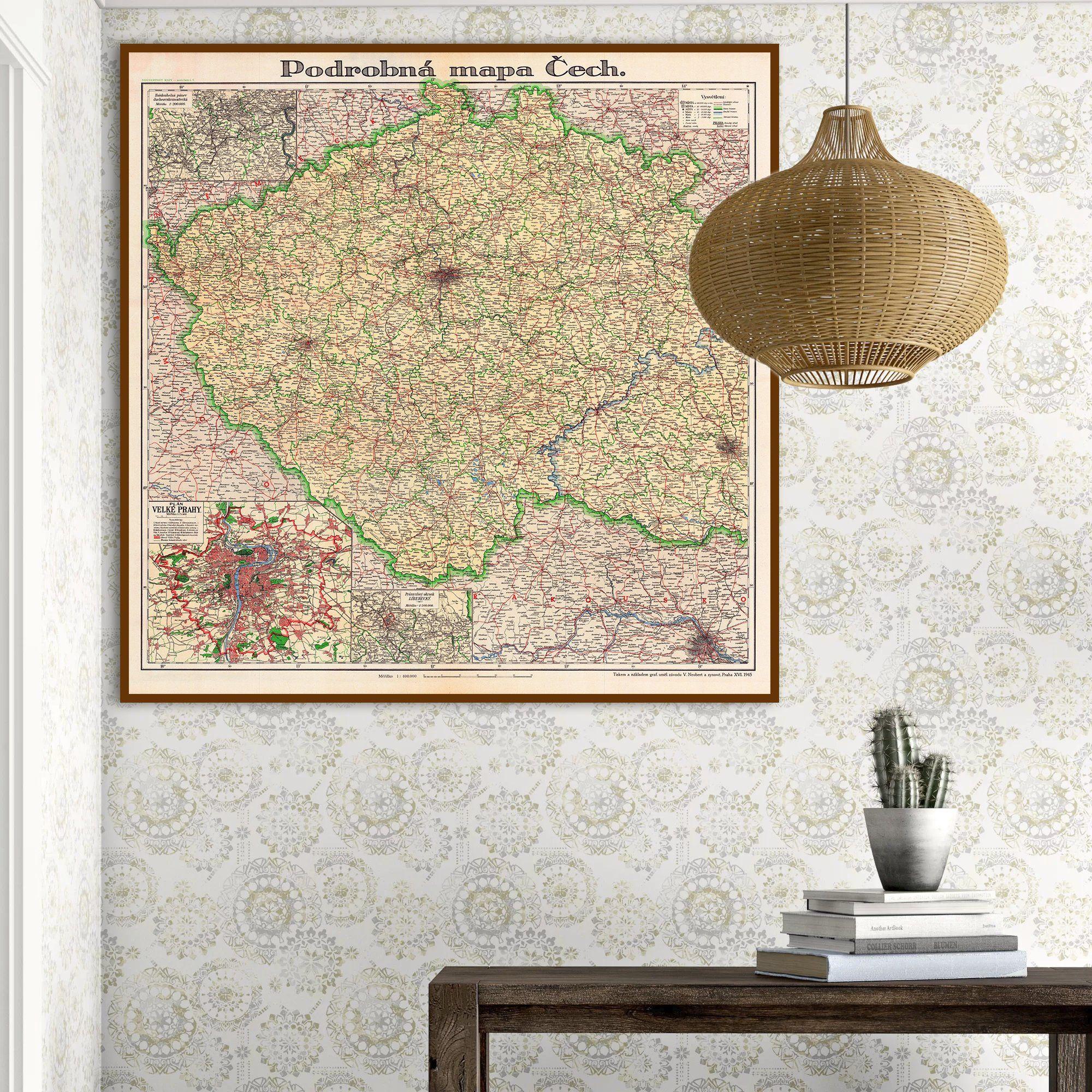 Czech Map Print 1946 Czechia Map Detailed Map Of Bohemia Prahy
