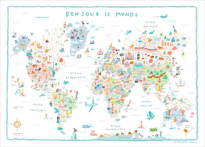 Affiche Carte du Monde Illustrée pour Enfants   Charlotte Klein