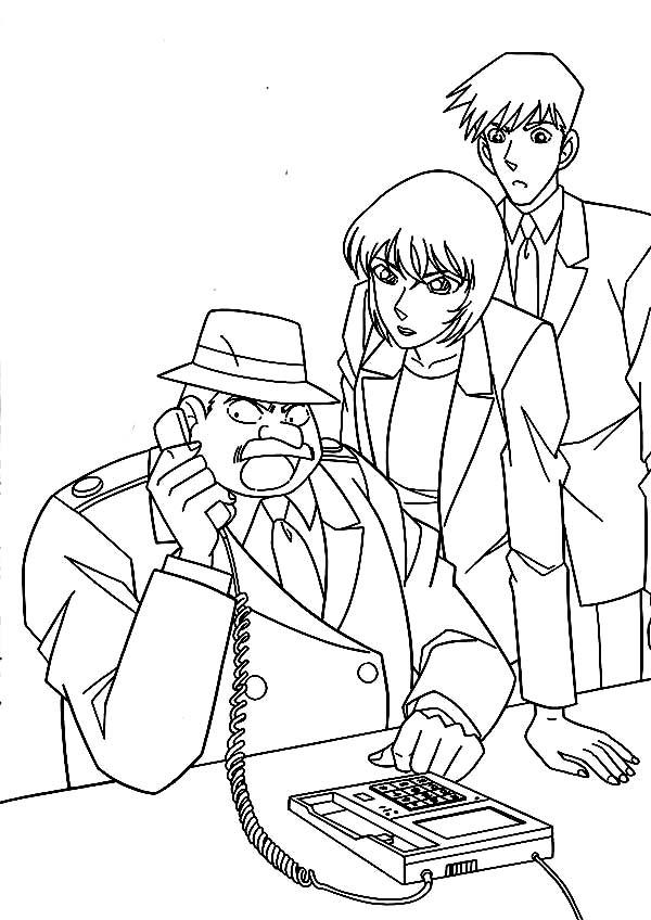 inspector megure receive call from detective conan