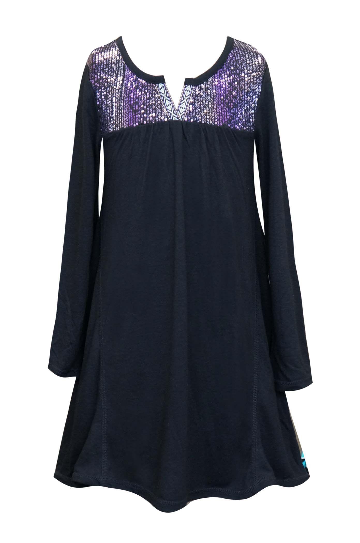 5b469500f Truly Me Big Girls Tween Ombre Sequins Yoke Long Sleeve Dress