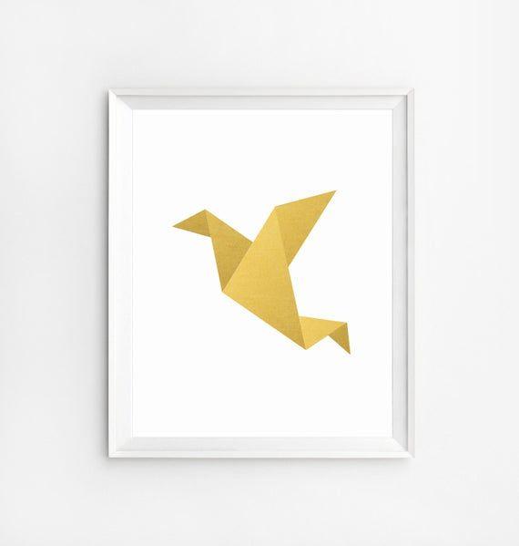 Photo of Origami Bird, Children Wall Art, Origami Bird Art, Gold Art, Children Print, Origami Wall art, Baby Decor, Geometric Prints, Origami Crane