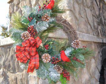 Christmas Wreath Red Cardinal Wreath Holiday Wreath Pine Wreath Winter Wreath Winter Door Wreath Christmas Door Wreaths Christmas Wreaths Wreaths Holiday