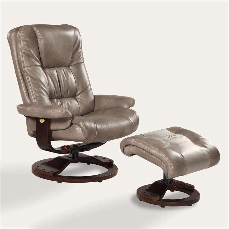 Bonded leather swivel recliner with ottoman in cloud gray
