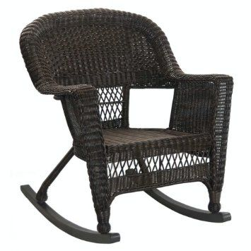 Set Of 2 Espresso Brown Resin Wicker Outdoor Garden Patio Rocker Chairs