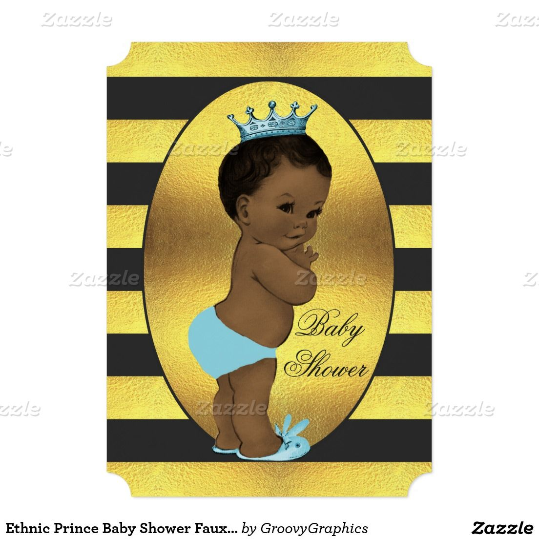 Ethnic Prince Baby Shower Faux Gold Foil Stripes 5x7 Paper Invitation Card