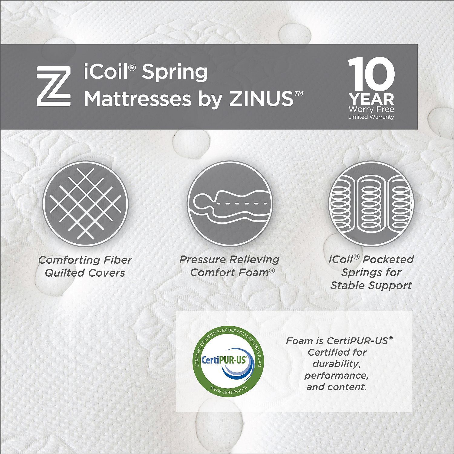 Zinus Night Therapy Icoil 8 Spring Twin Xl Mattress Mattress Bed Frame Sets Bed Frame Mattress