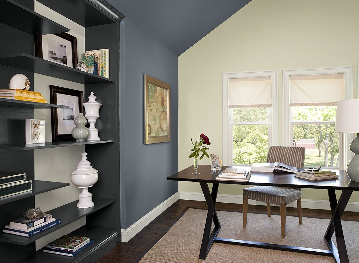 Paint Colors Blue Home Office Ideas Boldly Accented Color Comfortable 4