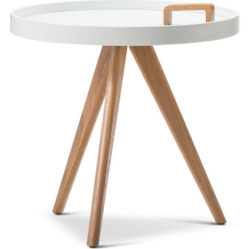 Marvelous Modern Round Side Table W/ Tray Top U0026 Handle White | Buy Furniture