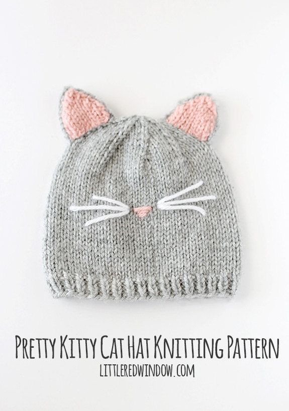 Baby Cat Hat KNITTING PATTERN  //  Cat Ear Hat Pattern   //   Baby Knit Hat Pattern with Cat Ears