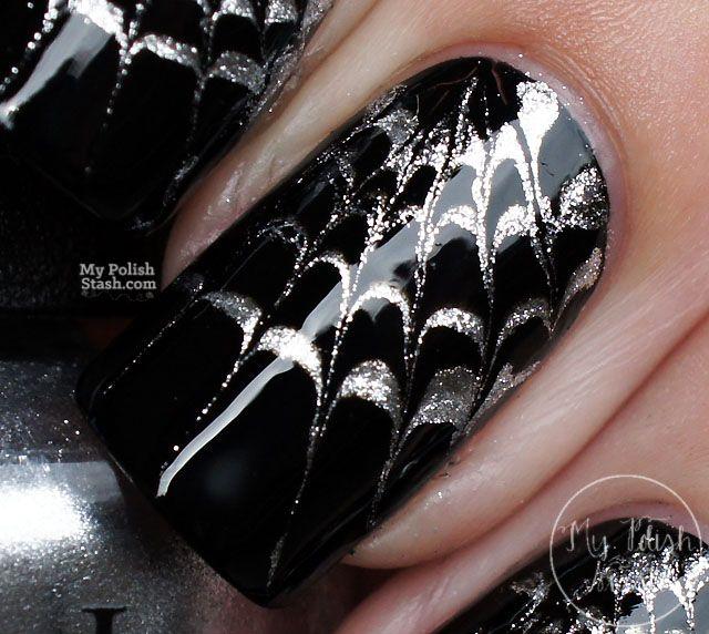 Halloween Nails Drag Marble Spiderweb Design | Halloween ...