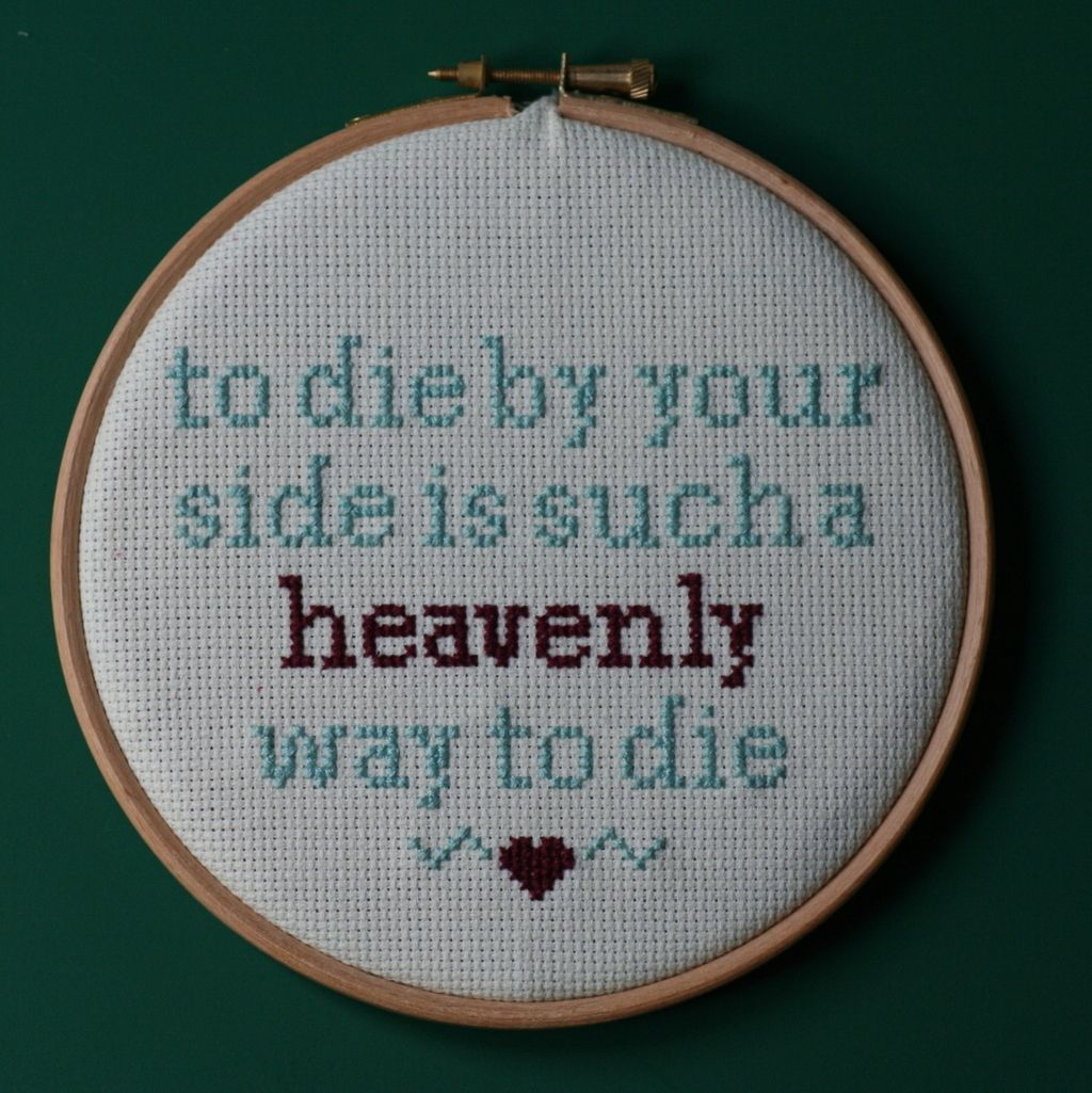 There is an etsy artist who cross stitches pop lyrics and they are