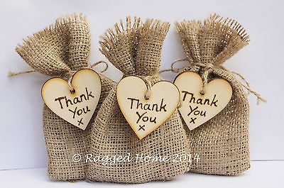10 X Rustic Hessian Favour Bags Wood Heart Thank You Tags Wedding Gift