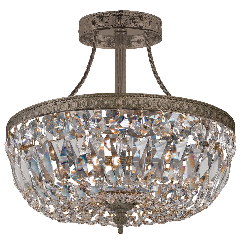 Traditional Crystal Antique Brass Semi Flush Mount Cr11910ebclmwp Crystal Ceiling Light Semi Flush Mount Lighting Flush Mount Ceiling Lights