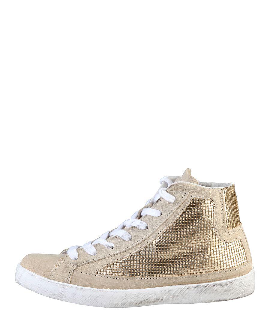 Woz, scarpe donna - 100% made in italy - sneakers alte, chiusura con lacci e zip laterale - tomaia in camoscio e strass  - Sneakers donna dm13216 Marrone