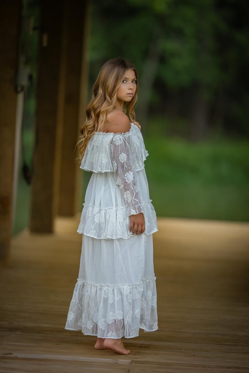 Photo of Tween Girl Fall Photo Shoot Dress, Vintage Rustic Flower Girl Dress, Boho Chic Junior Bridesmaid Maxi Dress, Off Shoulder Ruffle, Mirabelle