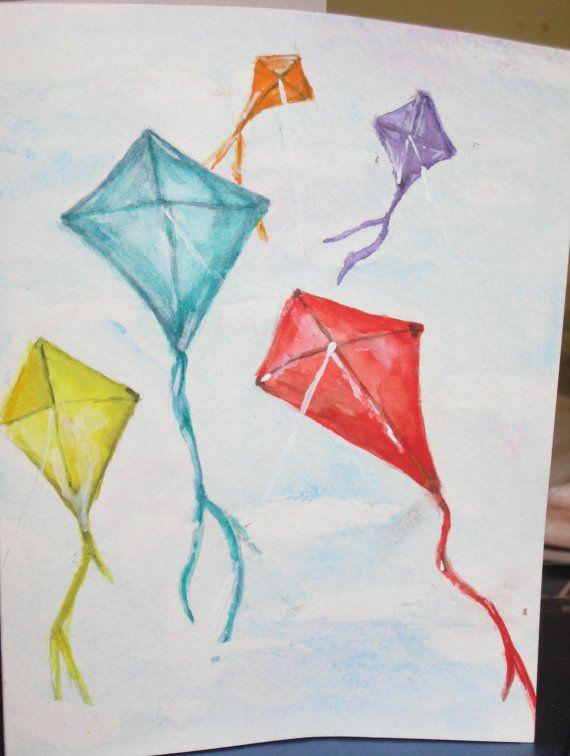 Original Watercolor Mini Painting Blank Greeting Card 5 X 7 Kites