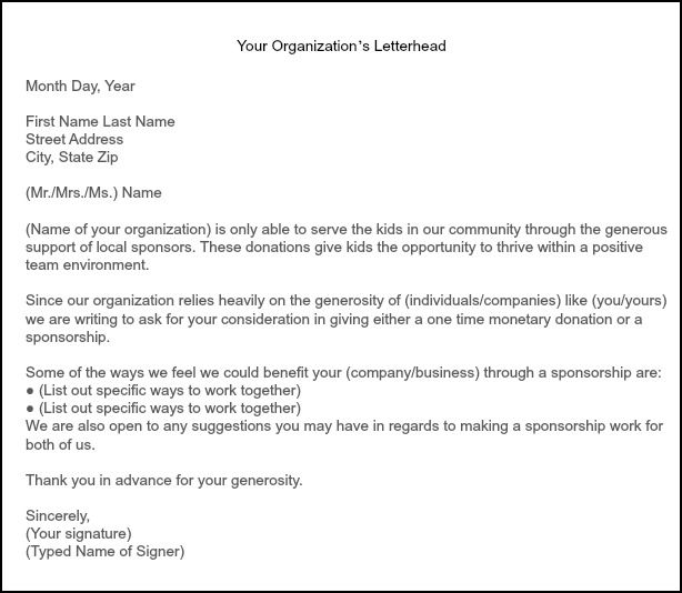 parent thank you letter from youth athletes – Sample of Sponsorship Letter