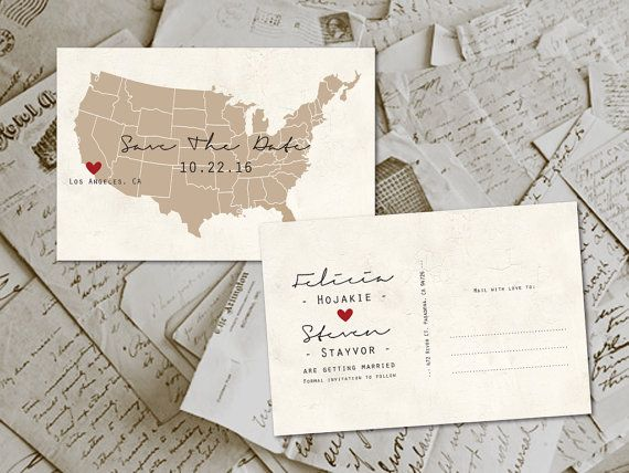 50 Wedding Save The Date Cards  USA Map Vintage by FifthVintage