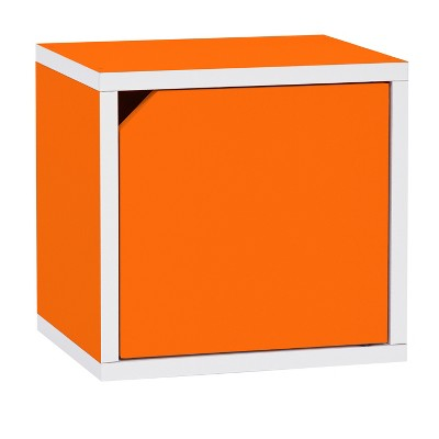 Way Basics   Eco Stackable Connect Storage Cube With Door   Orange