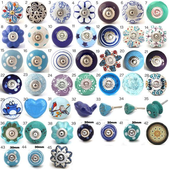 Ornamental Ceramic Door Knobs Various Blue Turquoise Designs Kitchen Cabinet Cupboard Or