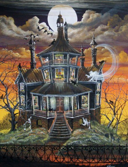 Folk Art HALLOWEEN PRINT October Haunted House Ghost Witch Cat Byrum