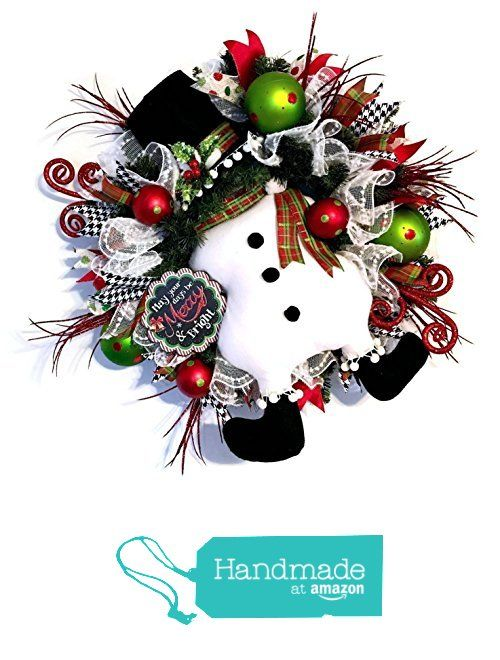 Christmas Snowman Front Door Winter Wreath from Fancy Wreath Lady
